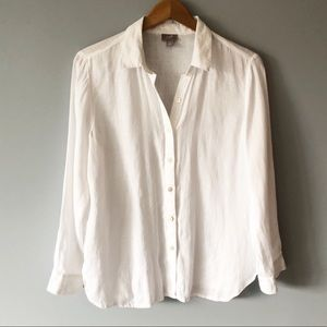 J. Jill White Button Down Shirt 100% Linen Small